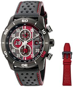 """Citizen Men's CA0530-41E Primo Eco-Drive """"Matt Kenseth"""" Limited Edition Watch. Citizen's limited-edition Matt Kenseth """"Primo"""" exudes unmistakable athletic appeal, with its interchangeable black and red perforated straps, rugged stainless steel case and bezel, and dial design featuring Kenseth's number 20. Eco-Drive is fueled by natural and indoor light, so it never needs a battery. Protective Sapphire crystal dial window. Features two interchangeable polyurethane straps, three subdials…"""