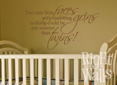 twin baby girls room   Twins Saying Vinyl Art Baby Kids Wall Decals   Right On The Walls
