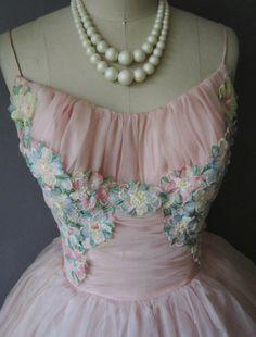 50's Prom Dress // Vintage 1950's Pink Organza Floral