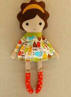 Reserved for generationsouth - Two Fabric Dolls Rag Dolls Girl with Owl Dress… Felt Dolls, Doll Toys, Rag Dolls, Sock Dolls, Crochet Dolls, Felt Fabric, Fabric Dolls, Softies, Apple Dolls