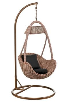 Premier Housewares Hanging Rattan Chair With Black Cushion   195 Cm X 95 Cm  X 95