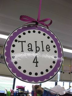 """Hanging Table Group Numbers. Good idea to keep classroom management under control. For example, """"thank you table 4 for sitting quietly and waiting for instruction"""". All kids want to be praised! Could also be used as """"I need the attention of table 4"""". It is not calling out one specific child."""