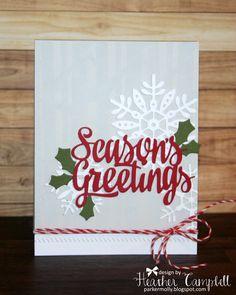 Heather Campbell for Avery Elle using Season's Greetings, Noel dies, Let it Snow stamps