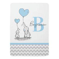 Personalized Elephant Blue Grey Chevron BOY Baby Blanket Grey Chevron, Blue Grey, Baby Boy Monogram, Elephant Baby Blanket, Cartoon Elephant, Soft Baby Blankets, Blue Blanket, Personalized Baby, Decoration