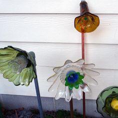 Garden art flower amber glass suncatcher sculpture by RecycleRoom, $30.00