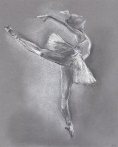 Ballerina Illustration.Ballerina drawing. Ballet Dancer. Ballerina pastel drawing.Pastel drawing.Original. Light drawing on dark paper. 8x10
