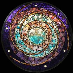 Stained Glass Mosaic Mandala Water Planet by David Chidgey