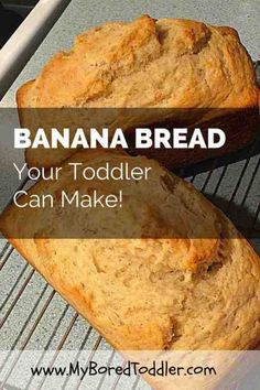 An easy banana bread recipe for toddlers. This toddler banana bread recipe is easy enough for your toddler to make, and makes a great toddler snack. Easy Banana Bread Recipe for Toddlers - easy banana bread recipe for toddlers Bread Recipes For Kids, Easy Meals For Kids, Healthy Snacks For Kids, Toddler Meals, Baby Food Recipes, Kids Meals, Meals For Toddlers, Recipes For Children, Kids Cooking Recipes Easy