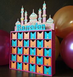 Ramadan countdown advent calendar. Hand painted with fine details and embellishments. Available at www.paisleydrop.etsy.com