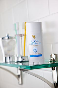 Aloe Ever-Shield Deodorant - Aloe Ever-Shield Deodorant provides effective, all-day protection. This gentle and yet powerful product is non-irritating  and does not stain clothes. The aloe  vera formula contains no alcohol or  harsh aluminium salts usually found in  anti-perspirant deodorants and can  be used to soothe after underarm  shaving and waxing. Product No.67