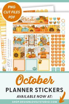October Monthly Planner Kit, October Monthly Printable, Halloween Planner Printable, for Erin Condren Life Planner, Cut Files