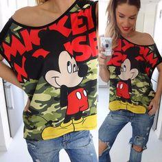 2016 Verão Camisetas Mulheres Impressão Carta Minie Casual Solto Tops de Manga Curta O-pescoço Dos Desenhos Animados Do Rato T-shirt Casual Tees
