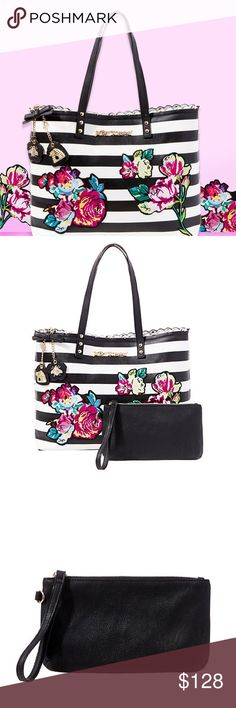 """💐 SPRING SALE 💐 Many Blooms Ago Tote Two is better than one. This large tote features a whimsical mix of patterns with a dainty scalloped trim pairs nicely with a coordinated wristlet. Features: Double straps, Scalloped edge, Wristlet, Wrist strap, Keychain dangles, Fully lined interior. Measurements: 12""""H x 15.5""""W x 4""""D; 20""""Strap Straps: 8.5"""" Drop Strap Made & Designed by Betsey Johnson. Sold by esmias.com Betsey Johnson Bags Shoulder Bags"""