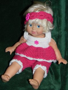 "Hot pink sunsuit with matching headband for 14"" doll."
