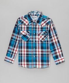 Take a look at this Blue & Red Plaid Embellished Button-Up - Toddler & Kids by STAR BOUTIQUE on #zulily today!