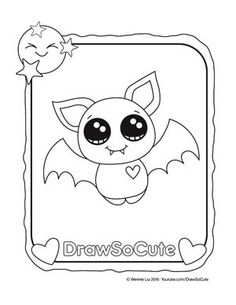 hi draw so cute fans, get your free coloring pages of my draw so ... - Cute Halloween Bat Coloring Pages