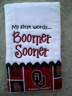 Boomer Sooner baby burp cloth - made to order. $15.00, via Etsy.