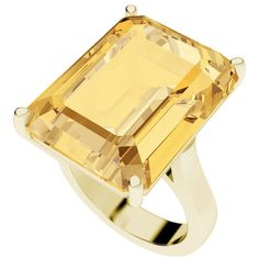StyleRocks Citrine emerald cut 9 carat yellow gold cocktail ring ($1,045) ❤ liked on Polyvore featuring jewelry, rings, wrap ring, citrine gold ring, gold jewelry, gold statement ring and wide rings