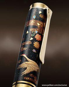 Pelikan Limited Edition Maki-E Mount Fuji And Cranes cap Graf Von Faber Castell, Fancy Pens, Vintage Pens, Dog Pen, Luxury Pens, Best Pens, Writing Pens, Fountain Pen Ink, Journaling