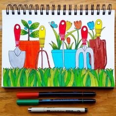 March's #CBDrawADay with @pamgarrison | Day 17: Garden Tools