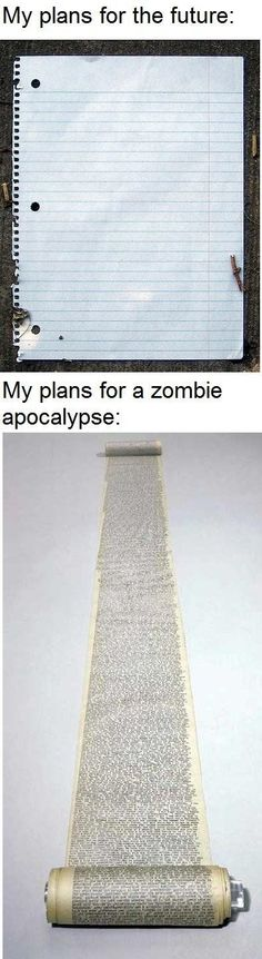I have plans for the future, it just involves a zombie apocalypse. - AC