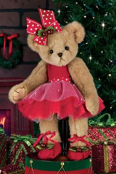 Bearington - Clara Bellarina by Bearington Bears. Clara bellarina # 173214 is 14 Christmas Bear. Clara is Dressed in her Holiday Ballerina Outfit. Perfect Christmas Gift For That Little Ballerina. My Teddy Bear, Cute Teddy Bears, Bear Toy, Country Bears, Christmas Teddy Bear, Little Girl Gifts, Cute Stuffed Animals, Boyds Bears, Nutcracker Christmas