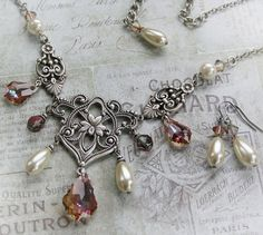 BLUSHING romantic Victorian bridal necklace in antiqued silver with Swarvoski crystal and pearls, matching earrings