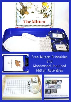 Free Mitten printables and hands-on mitten activities to go with the classic children's book The Mitten. Perfect for classroom or homeschool - Living Montessori Now Preschool Books, Montessori Activities, Kindergarten Literacy, Preschool Activities, Preschool Winter, Montessori Homeschool, Animal Activities, Homeschooling, Preschool Readiness