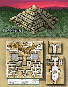 Fantasy Cartography by Sean Macdonald. Zigurat, pirámide, templo, temple