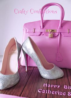 Birkin bag cake and silver Louboutins
