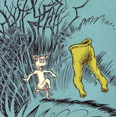 "The Pale Green Pants! RP from the fantastic This illustration is from my ABSOLUTE FAVORITE Dr. Seuss tale ""What Was I Scared Of?"" in Sneetches and Other Stories, This story has had a lasting impact on me since childhood. Dr Suess Books, Dr Seuss Art, My Books, Children's Book Illustration, Illustrations, Dr Seuss Pictures, Reading Themes, Fantasy Dragon, Green Pants"