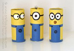 Cardboard Tube Minions by @Amanda Snelson Snelson Snelson Formaro Crafts by Amanda Found on craftsbyamanda.com