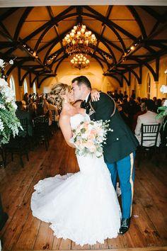 Kiss the Bride | Wedding Day | Military Wedding | Tybee Wedding Chapel | Destination Weddings | Savannah, Georgia Venue | Photo by Mark Williams Studio
