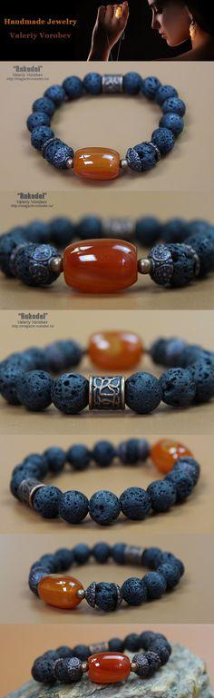 Bracelet beaded. Bracelet of stones. Bracelet handmade from beads of volcanic lava and carnelian. Jewelry from beads.