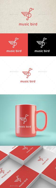 Music Bird  Logo Design Template Vector #logotype Download it here: http://graphicriver.net/item/music-bird-logo/12964753?s_rank=1106?ref=nexion
