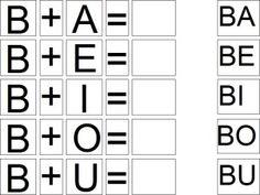 silabas com ba be bi bo bu Alphabet Charts, Learning Goals, Math Literacy, Spanish Activities, Infant Activities, Word Work, Speech And Language, Phonics, Homeschool