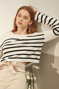 Striped Knit Crop Sweater Top