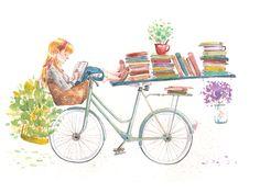 """bibliolectors: """" Descanso: naturaleza y lectura (ilustración de Judith Chamizo) """""""
