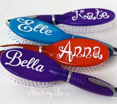Personalized Hair Brush Tutorial. Would be cute for a party favor, especially Tangled themed party!