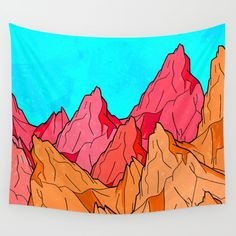 The Red and Orange Mounts Wall Tapestry. #drawing #digital #ink-pen #outlines #mountains #hills #peaks #red #blue #orange #tones #landscape #summer #contrast #nature #abstract #paint #cliffs #sky #texture