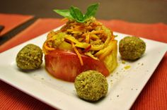 "Vegetable Spaghetti with Tomato Sauce, Spicy Nut Balls and ""Parmesan Cheese"" - Raw and Vegan"