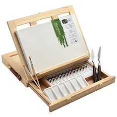 Artina 19 pcs Art Set Milano with Tabletop Easel Canvas cm Acrylic Paint Brush Palette Spatula Wooden Pallets, Wooden Diy, Diy Easel, Acrylic Paint Brushes, Art Storage, Cool Gadgets To Buy, Palette, Paintings For Sale, Art Supplies