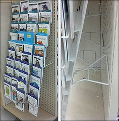 A four gondola-height racks hinge from top Pegboard Mounts. Swing-down kickstands in the rear position and angle the racks outward. Office Workspace, Magazine Rack, Families, Cabinet, Storage, Building, Furniture, Ideas, Home Decor