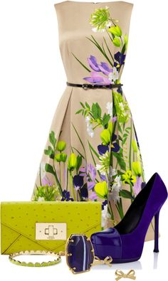 short floral dress, suede shoes and coin bag