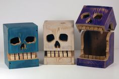 Reclaimed Wood Box Spooky Skull by EricGrimesArt on Etsy