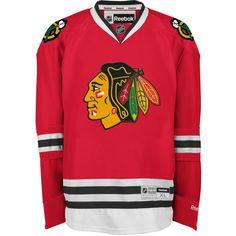 Reebok NHL Chicago Blackhawks Jersey ($135) ❤ liked on Polyvore featuring men's fashion, men's clothing, men's activewear, men's activewear tops, apparel and men