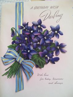 Vintage Birthday Card Violets 1950s Norcross Card Large