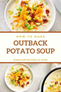 Outback Steakhouse Potato Soup (Copycat Recipe!) - DWELL by michelle Healthy Baked Potatoes, Low Carb Potatoes, Onion Recipes, Easy Soup Recipes, Potatoe Soup Recipe Easy, Vegetarian Soup, Vegetarian Recipes, Healthy Recipes, Yummy Recipes