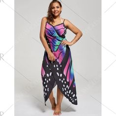 Plus Size Butterfly Wrap Cover Up Dress - 5xl Mobile