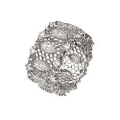 Buccellati 18k White Gold & Diamond Openwork Band Ring